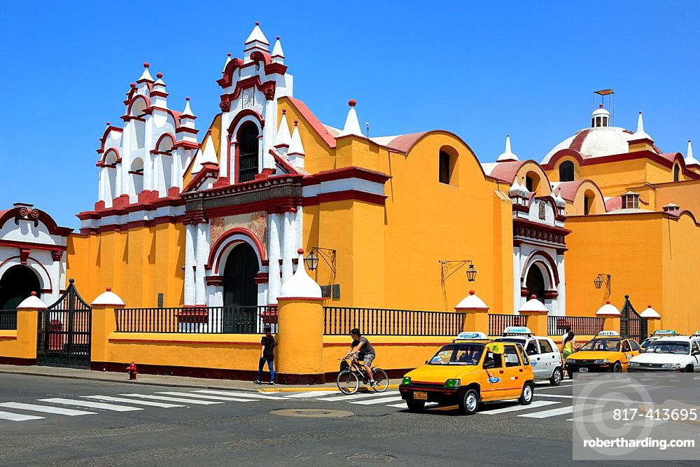 Church facade, Plaza de Armaz, Trujillo, Peru
