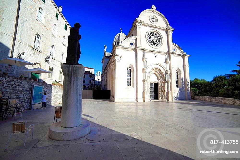 Square near cathedral of St James, Sibenik, Dalmatia, Croatia