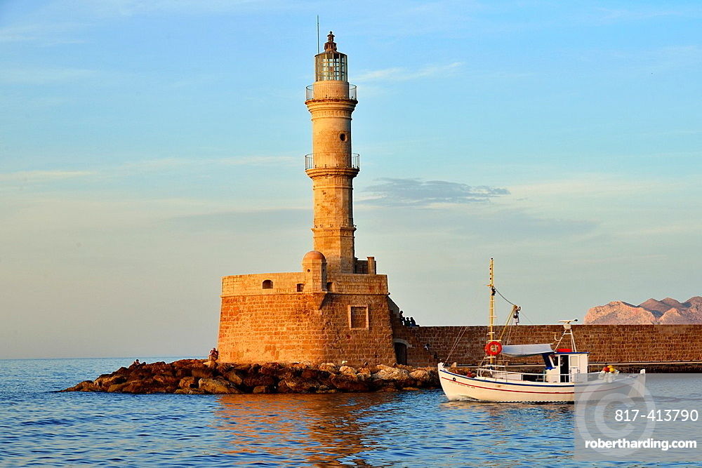 The lighthouse at the Venecian harbour of Chania, Crete