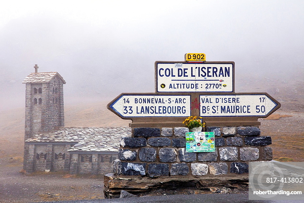 Altitude sign and chapel at the top of the Col de LÂ¥Iseran, Savoie, France