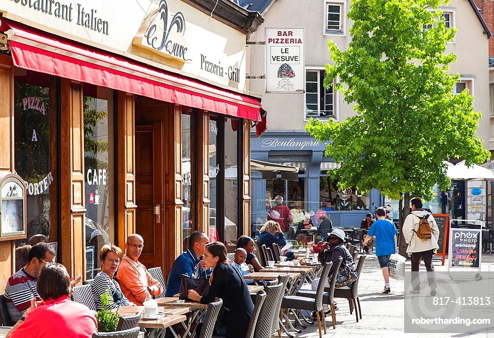Cafe with outdoor seating area Chartres, Loire, France