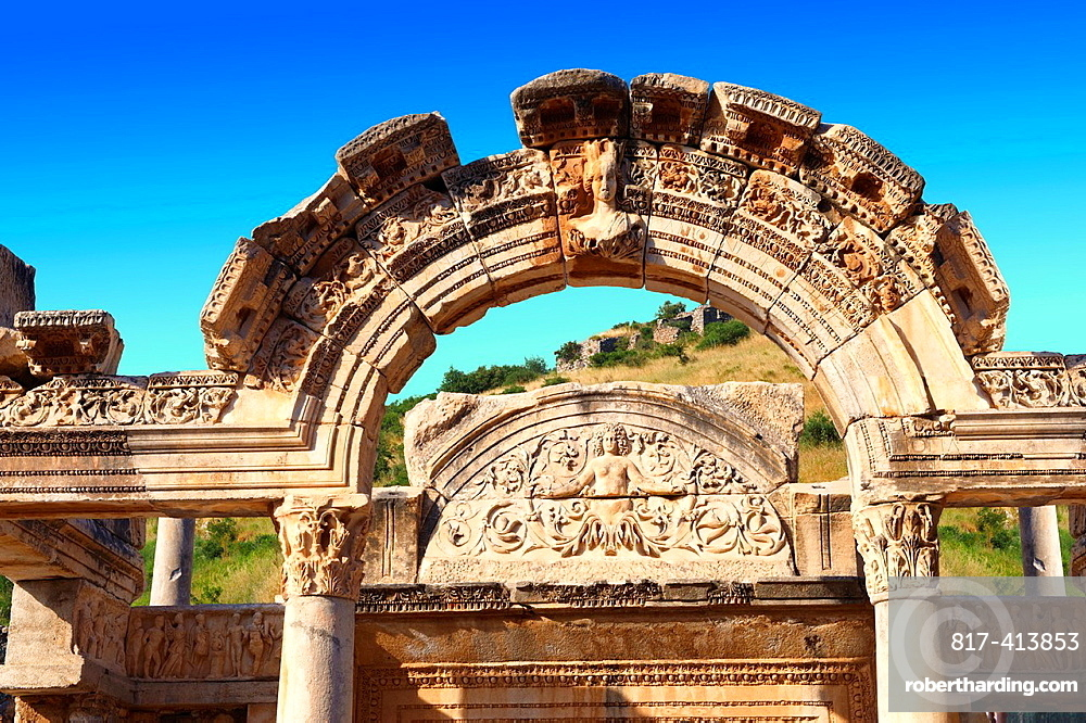 The Temple of Emperor Hadrian on Curetes Street 117, 138 A D Ephesus Archaeological Site, Anatolia, Turkey