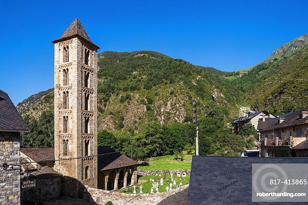 Santa Eulalia church in Erill la Vall in Vall de Boi, Catalonia, Spain. Recognized as UNESCO world heritage site.