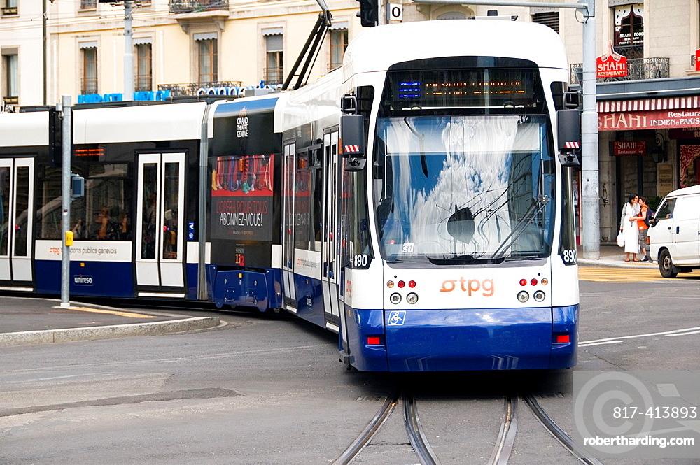 Tpg, Transports Publics Genevois Tram, Center Of Geneva, Switzerland