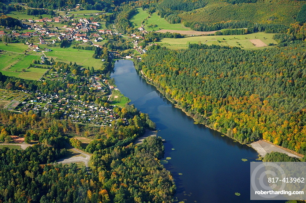 Haspelschiedt lake, campground and village in Natural Regional Park of Northern Vosges, Moselle, Lorraine, France