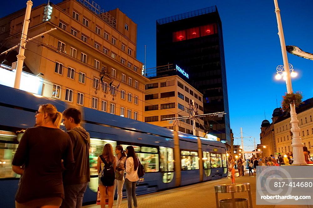 Ban Jelacic Square at night, Zagreb, Croatia