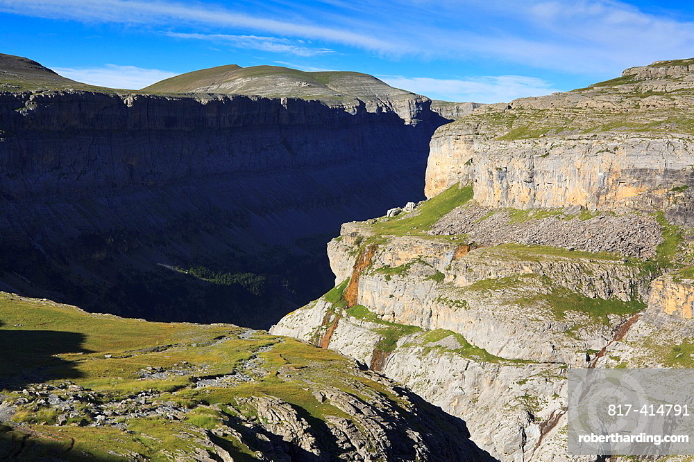 View of Ordesa valley and Sierra Custodia in summer Ordesa and Monte Perdido National Park Pyrenees Huesca Aragon Spain