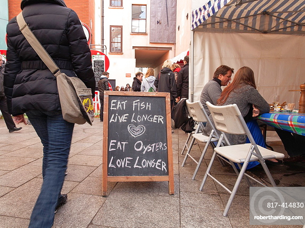 Eat Fish Live Longer, Eat Oysters Love Longer Sign at Food Market, Temple Bar, Dublin, Ireland