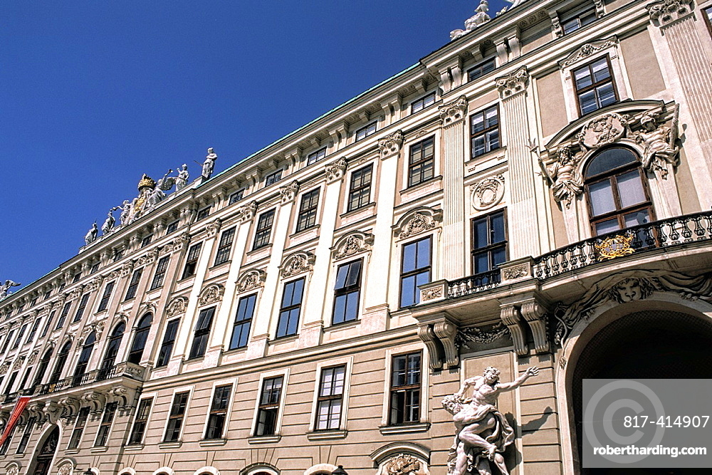 Beautiful ornaments at Hofburg Imperial Palace in old town of Vienna Austria