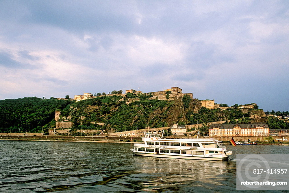Germany Koblenz Old Town by Rhine River with River Cruise