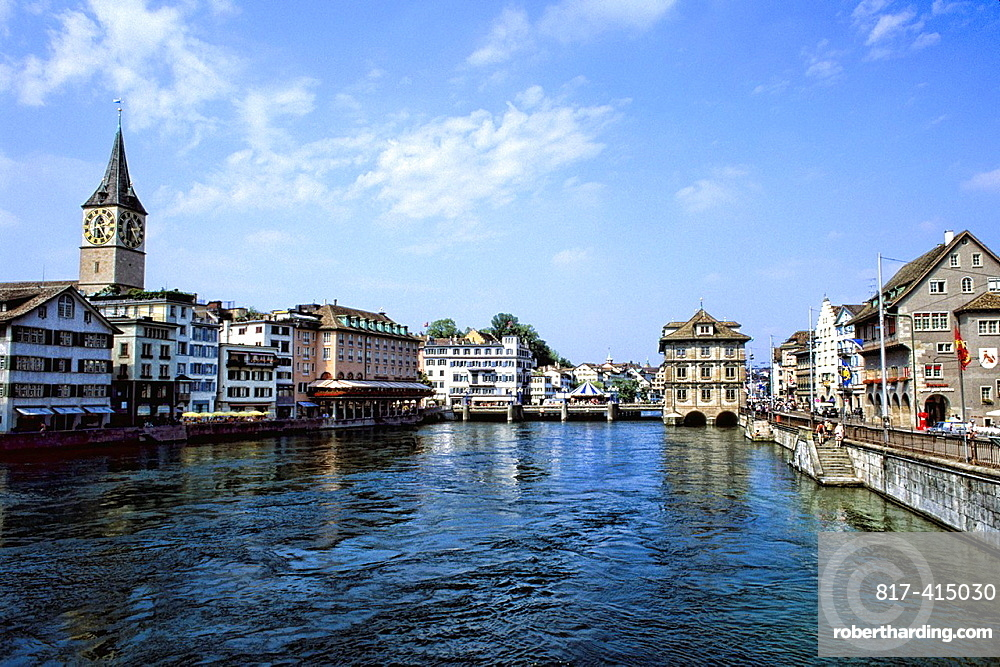 Switzerland Skyline and river in downtown Zurich Switzerland