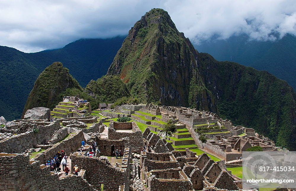 Machu Picchu famous ruins from above in Peru from Inca history