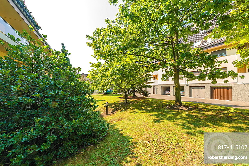 Trees between condominium buildings Strasbourg Alsace France