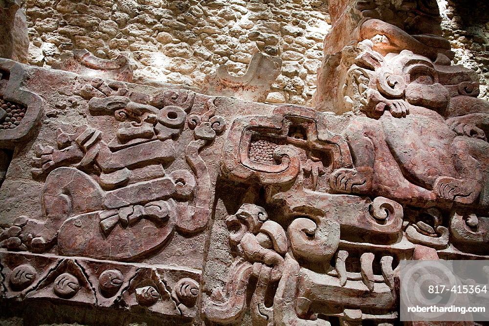 Frieze at Archeological site Balamku, Yucatan Peninsula, Campeche, Mexico