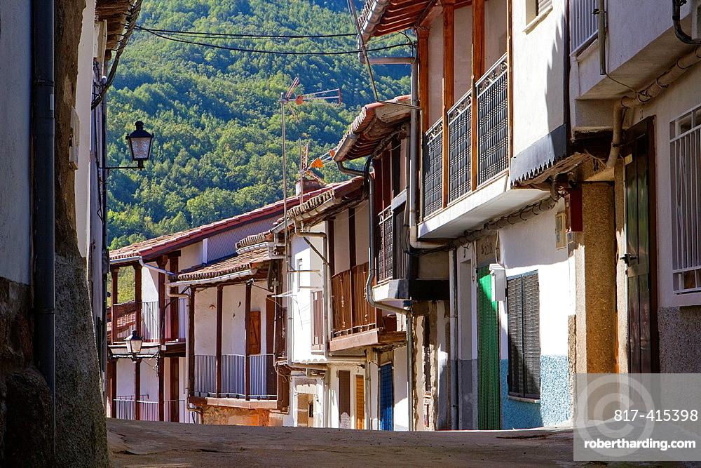 Typical and traditional street of Montemayor del Rio, a small village declarated Historical-Artistic Site in Sierra de Bejar, Salamanca province Castilla y Leon Spain