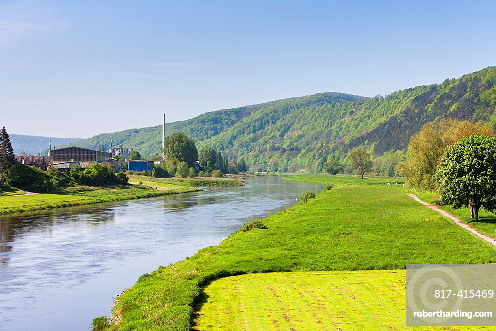 View over the river Weser and the Weser Hills Weserbergland, Lower Saxony, Germany, Europe
