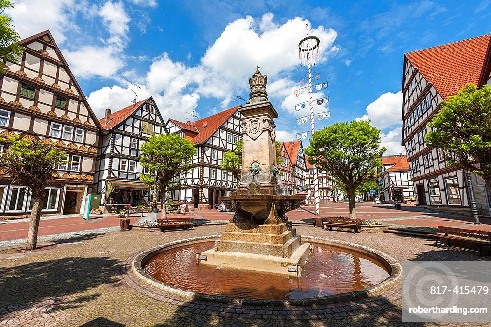 Market square in Hofgeismar on the German Fairy Tale Route, Hesse, Germany, Europe