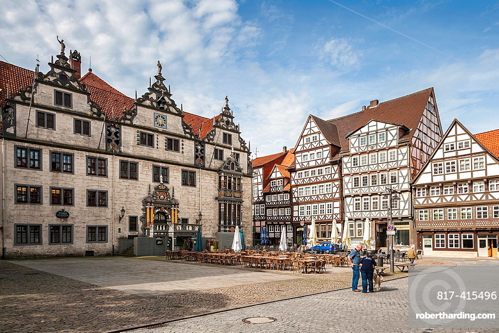 City hall and market square in Hannoversch Muenden on the German Fairy Tale Route, Lower Saxony, Germany, Europe