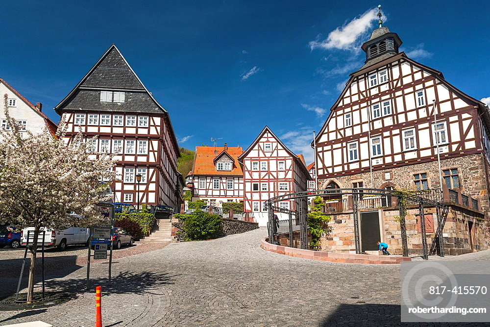 City hall and traditional timbered houses in Homberg Efze on the German Fairy Tale Route, Hesse, Germany, Europe