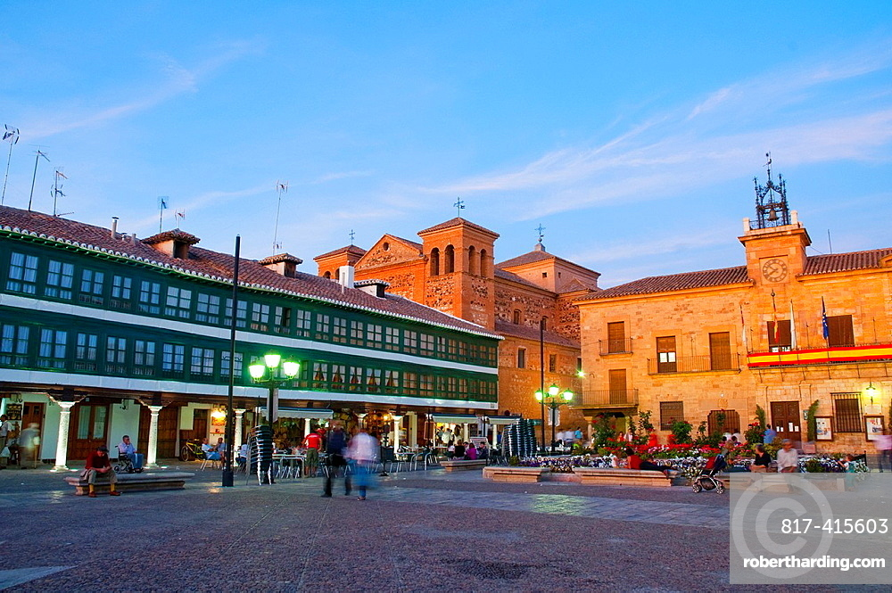 Main Square, night view. Almagro, Ciudad Real province, Castilla La Mancha, Spain.