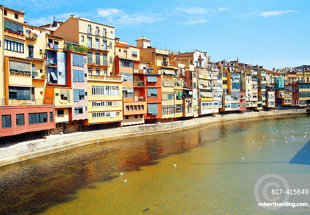 Overview and river Onyar. Gerona, Catalonia, Spain.
