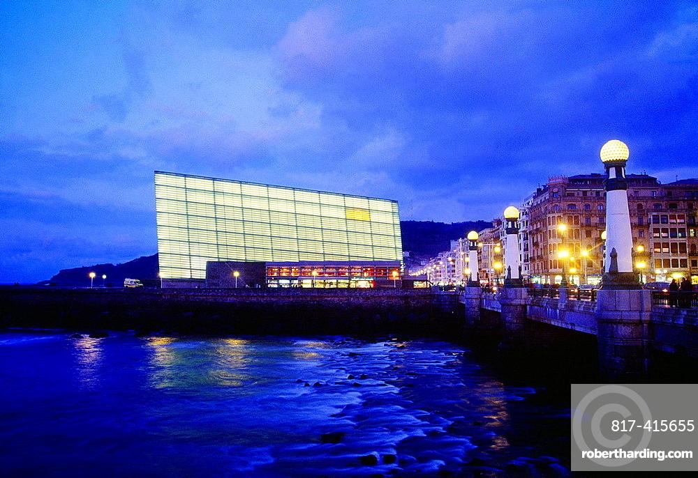 Kursaal and river Urumea, night view. San Sebastian, Guipuzcoa province, Basque Country, Spain.