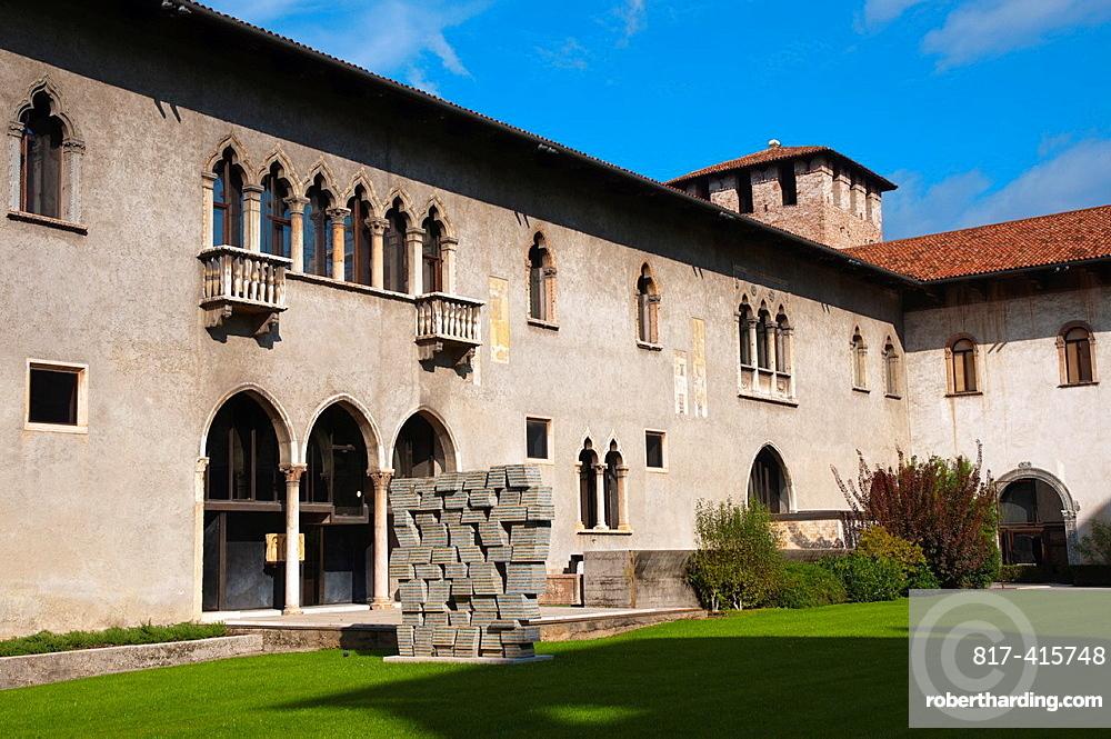 Courtyard of Castelvecchio fortress 1356 Verona city the Veneto region northern Italy Europe