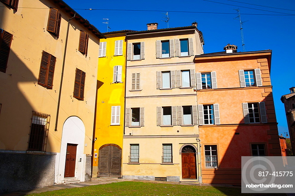 Colourful residential housing in central Parma city Emilia-Romagna region central Italy Europe