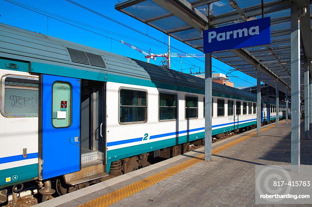 Railway station platform at main station Parma city Emilia-Romagna region central Italy Europe