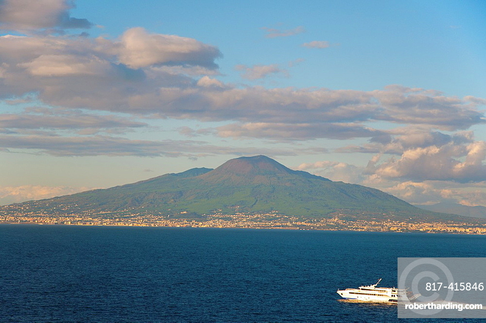 Hydrofoil boat in front of Mount Vesuvius in Bay of Naples at Sorrento resort town La Campania region southern Italy Europe