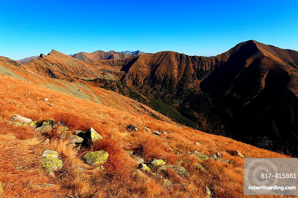 View of Zapadne Tatry, Rohace from peak Prislop, Slovakia