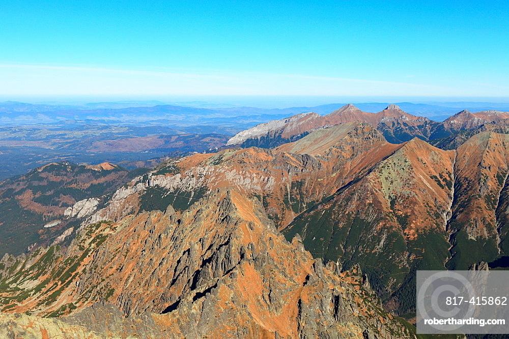 View from peak Rysy over the Bielovodska dolina towards Belianske Tatry, High Tatras, Slovakia