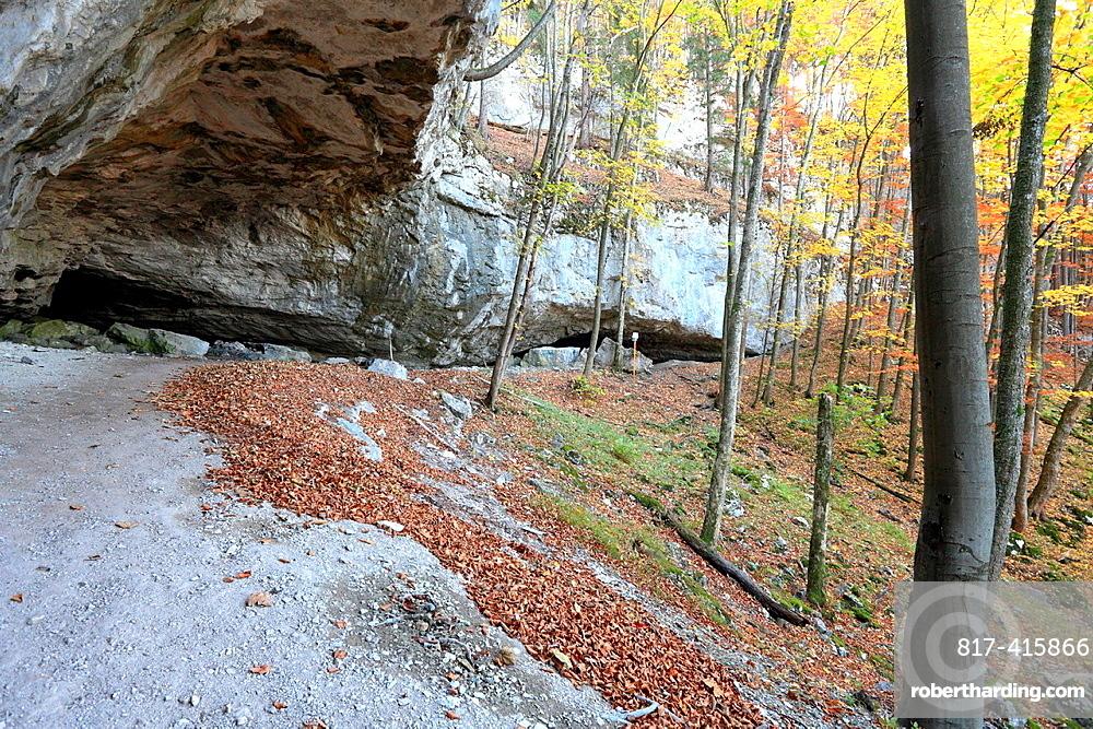 The limestone cliffs at the cave Mazarna, NP Velka Fatra, Slovakia