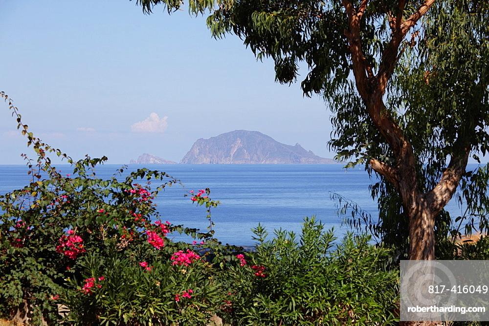 Lipari seen from Salina Island, Aeolian Islands, Sicily, Italy
