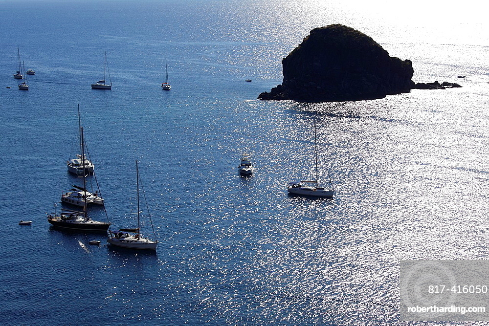 Aerial view of Pollara bay and Faraglione Rock, Salina, Aeolian islands, Sicily, Italy
