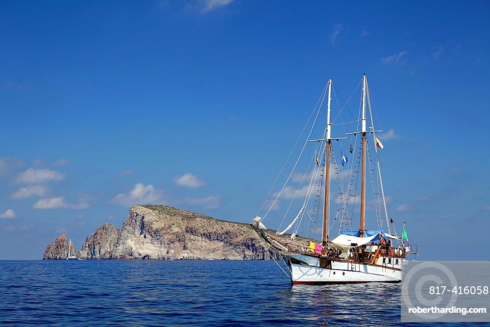 Sailing Ship At Aeolian Islands, Sicily, Italy