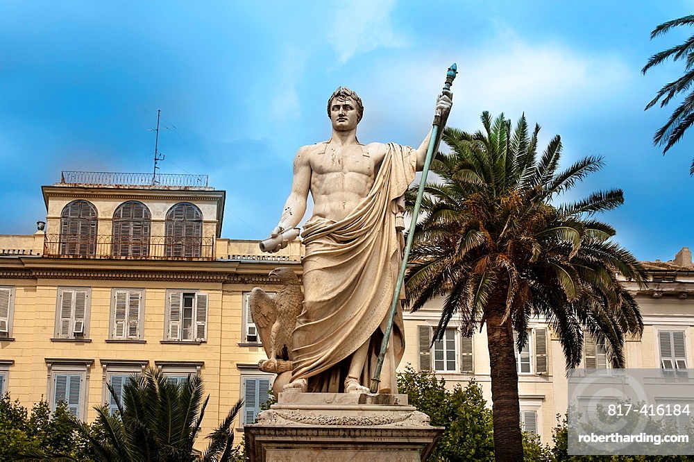 Europe, France, Haute-Corse 2B Bastia, Place Saint-Nicolas, the statue of Napoleon as a Roman emperor