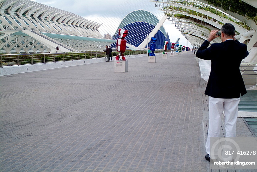 Tourists visiting the city of arts and sciences of Valencia, Spain, Europe