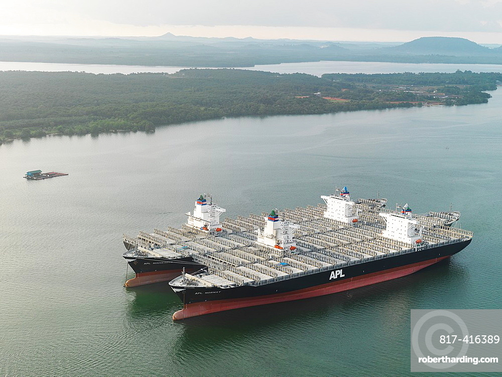 Huge transport ship carrying parts and supplies for construction of Sungai Johor Bridge, which opened on June 10, 2011 as the longest River bridge in Malaysia