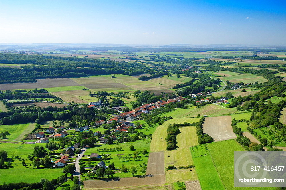 Aerial view of french village of Haute-Vigneulles Moselle, Lorraine, France