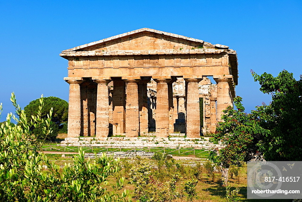 The ancient Doric Greek Temple of Hera of Paestum built in about 460-450 BC Paestum archaeological site, Italy