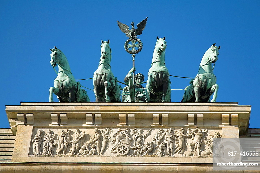 Brandenburg Gate is topped with a copper sculpture, the Quadriga, created by Johann Gottfried Schawdow Berlin, Germany, Europe