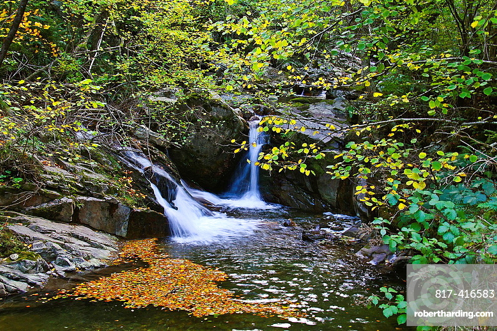 Waterfall, Route El Alba, Sobrescopio, Redes Natural Park and Biosphere Reserve, Asturias, Spain