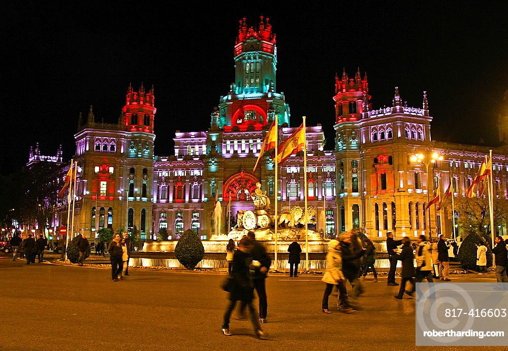 Cibeles Fountain and Ayuntamiento, City Hall at night Madrid, Spain