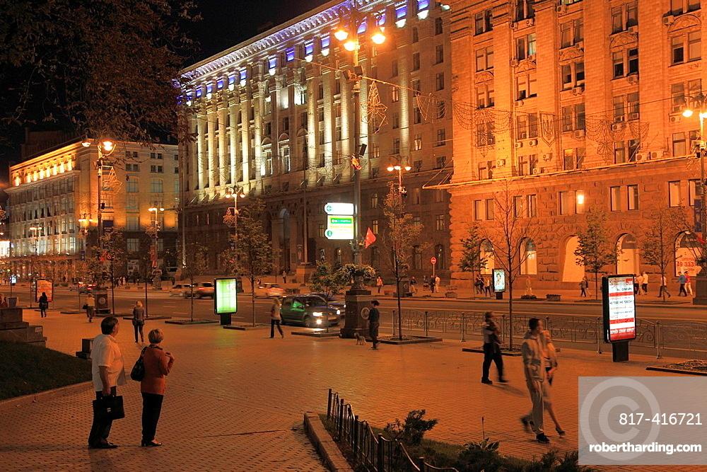 Ukraine, Kiev, Kyiv, Khreshchatyk Street, at night,