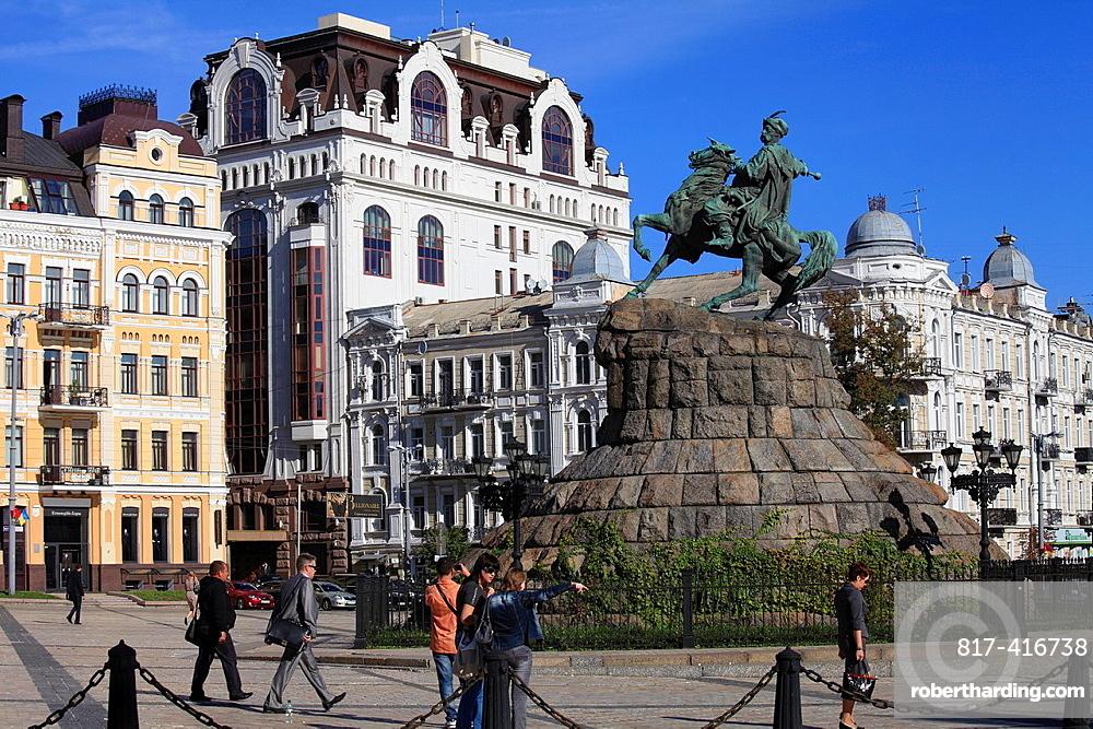 Ukraine, Kiev, Kyiv, Sofiyska Square, Bohdan Khmelnytsky statue,