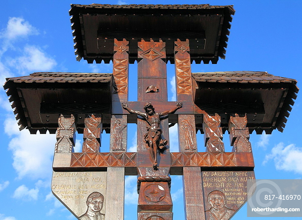 Romania, Targu Mures, carved wooden cross,