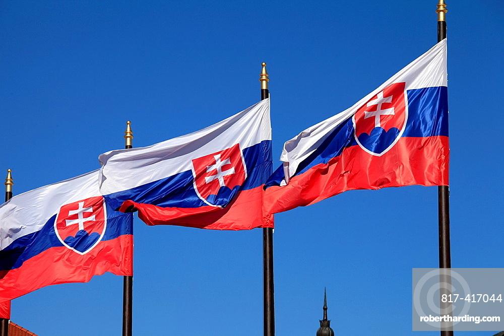 Slovakia, Bratislava, Slovakian national flags,