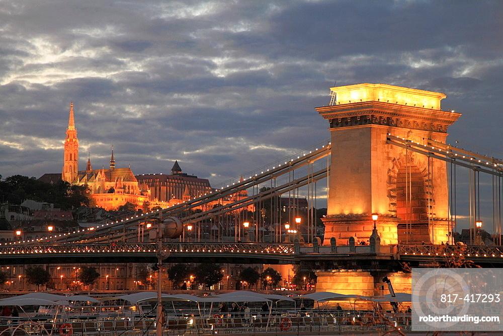 Hungary, Budapest, Chain Bridge, Matthias Church,