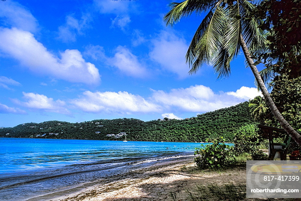 St Thomas beautiful beaches and palms at famous Magens Bay and ocean with waves